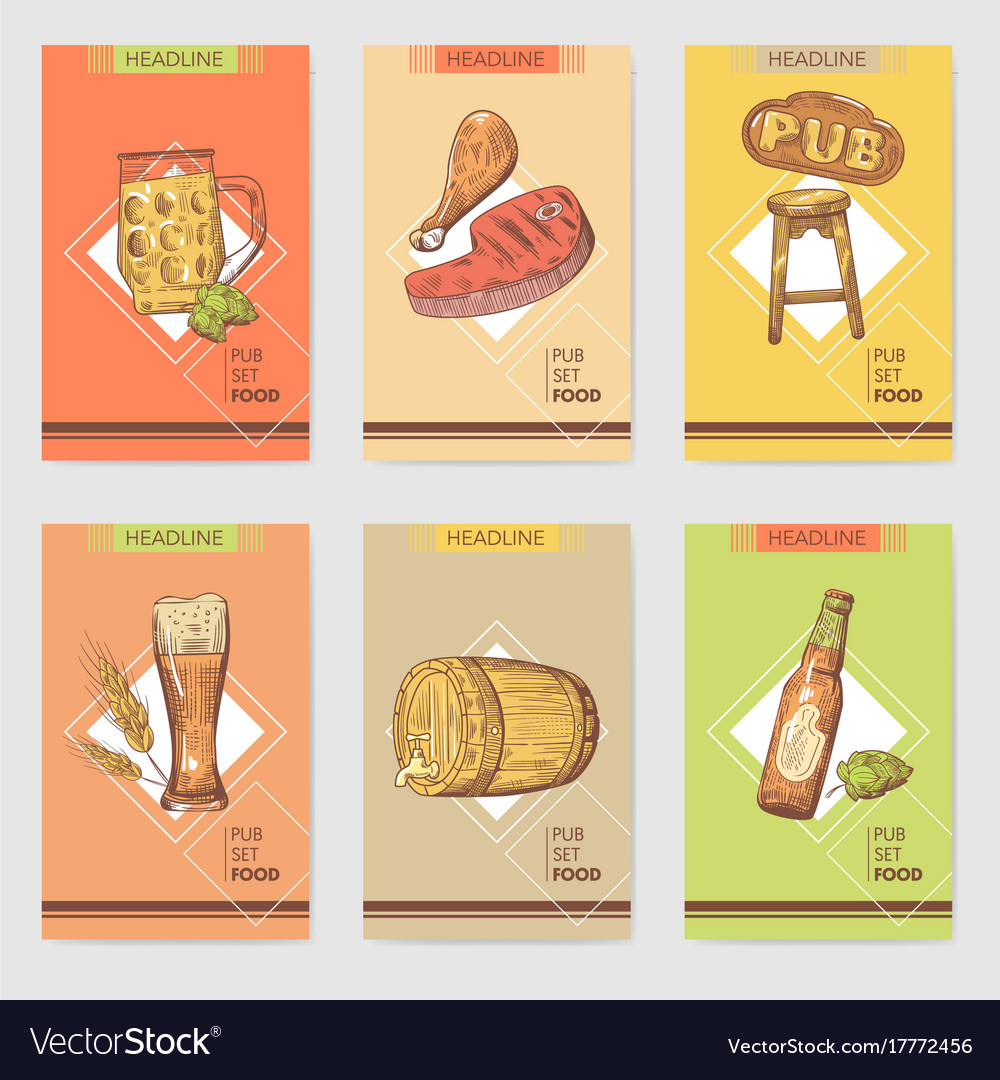 Beer pub brochure template hand drawn restaurant vector image