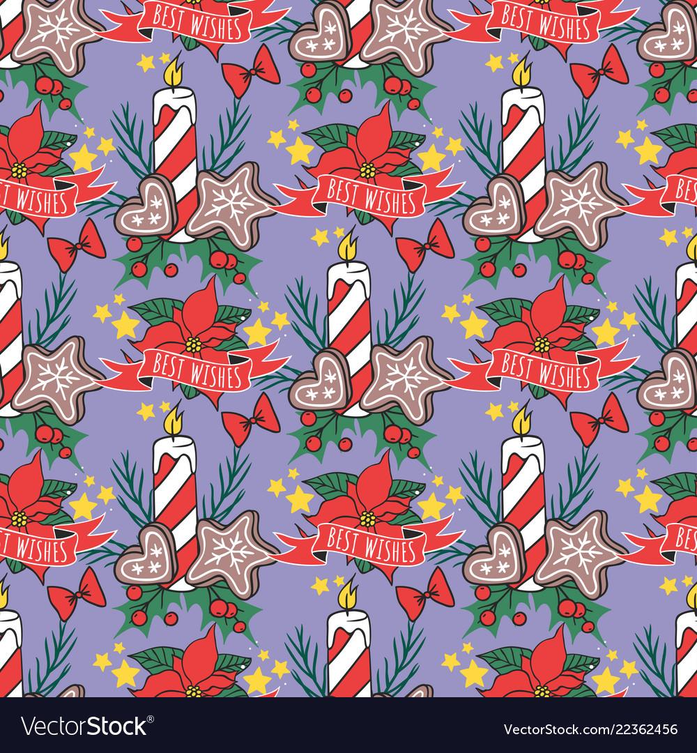 Christmas seamless pattern new year hand