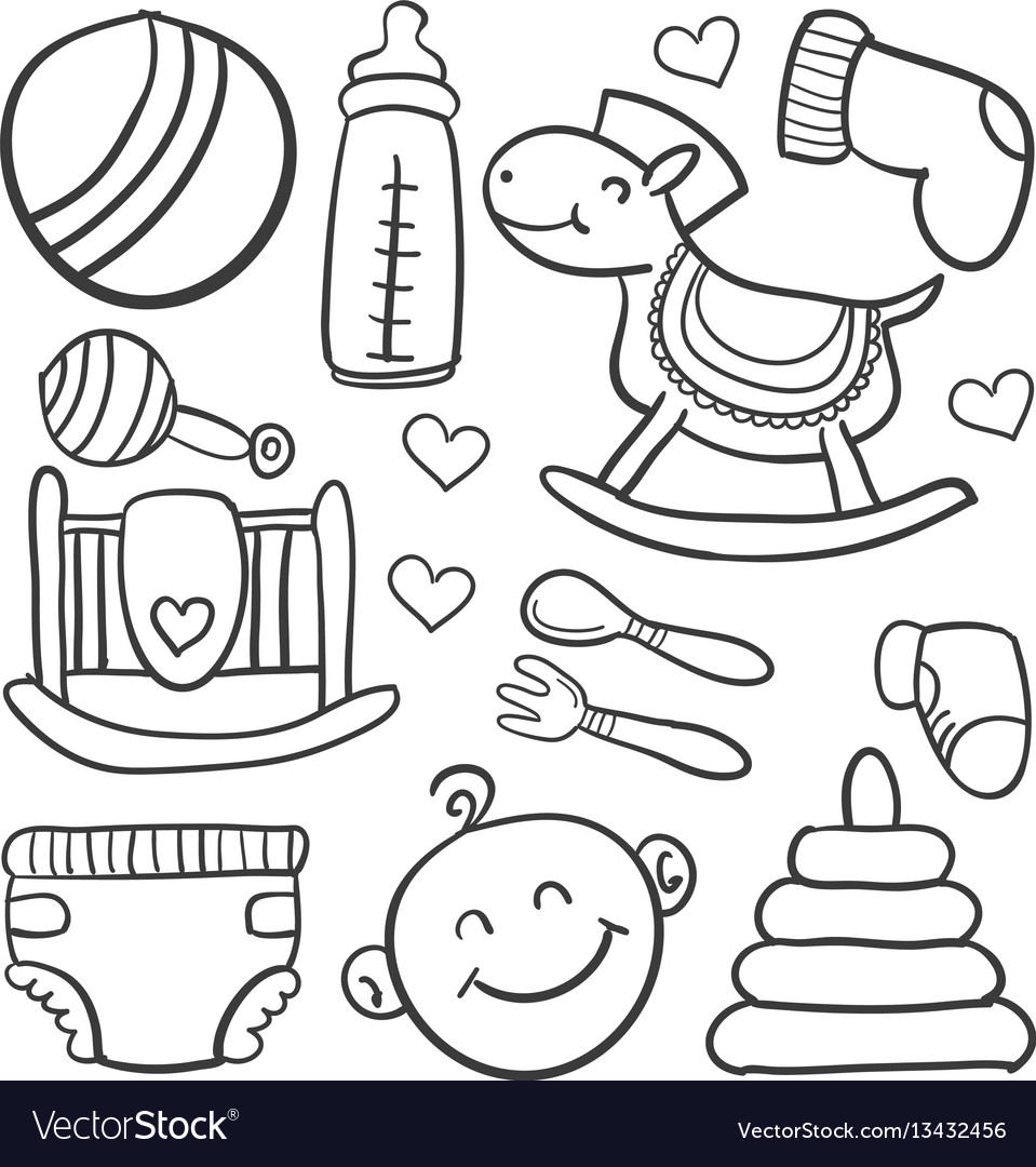 Doodle of baby toy element