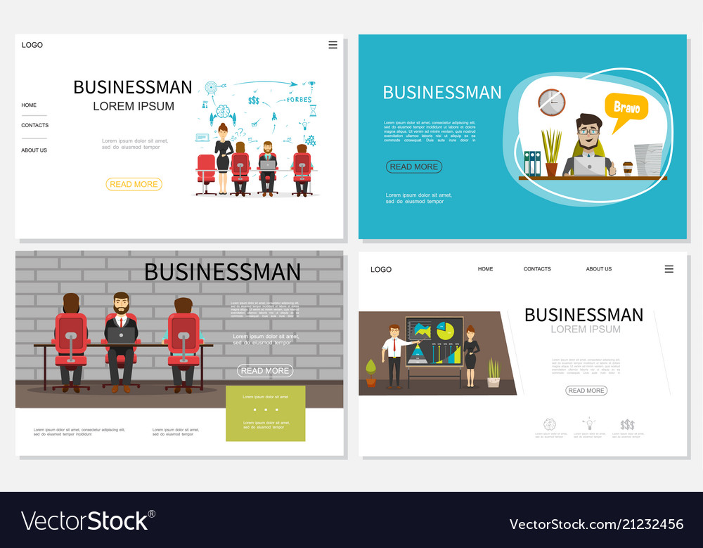Flat businessman websites collection