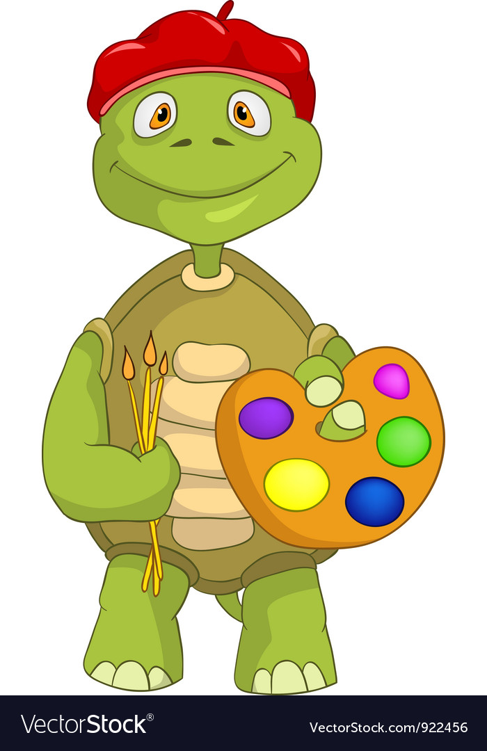 Funny Turtle Artist vector image