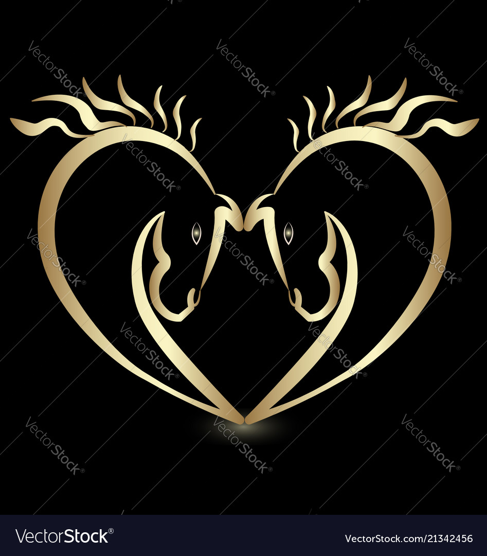 Gold horse lovers creating a heart icon