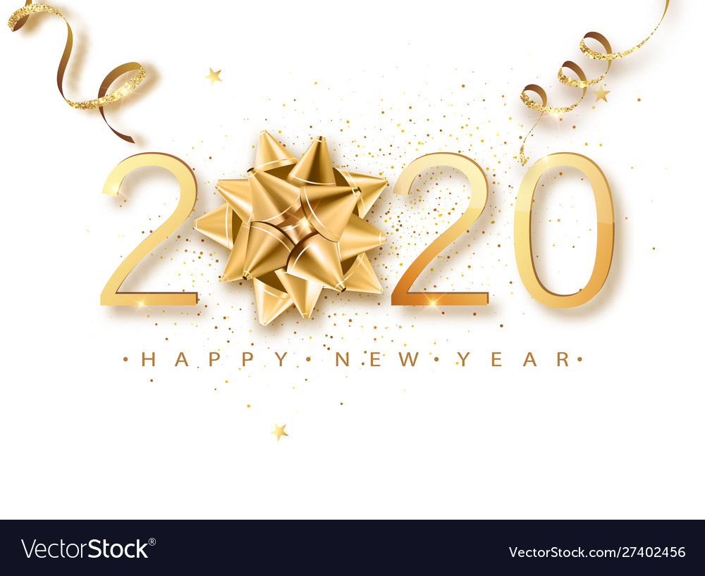 Happy new 2020 year greeting card web banner or