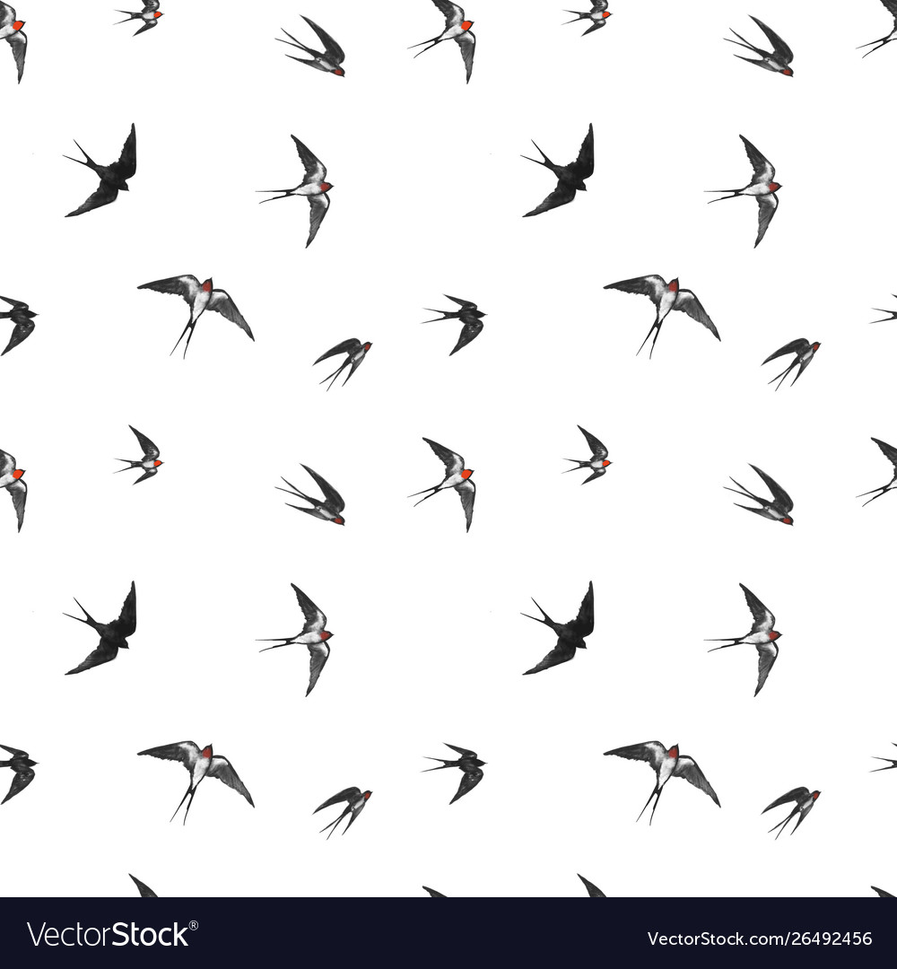 Seamless pattern with black flying swallow birds