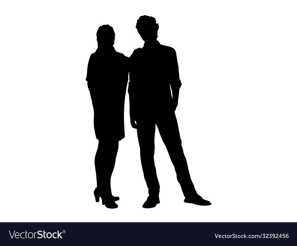 Silhouettes mom and adult son