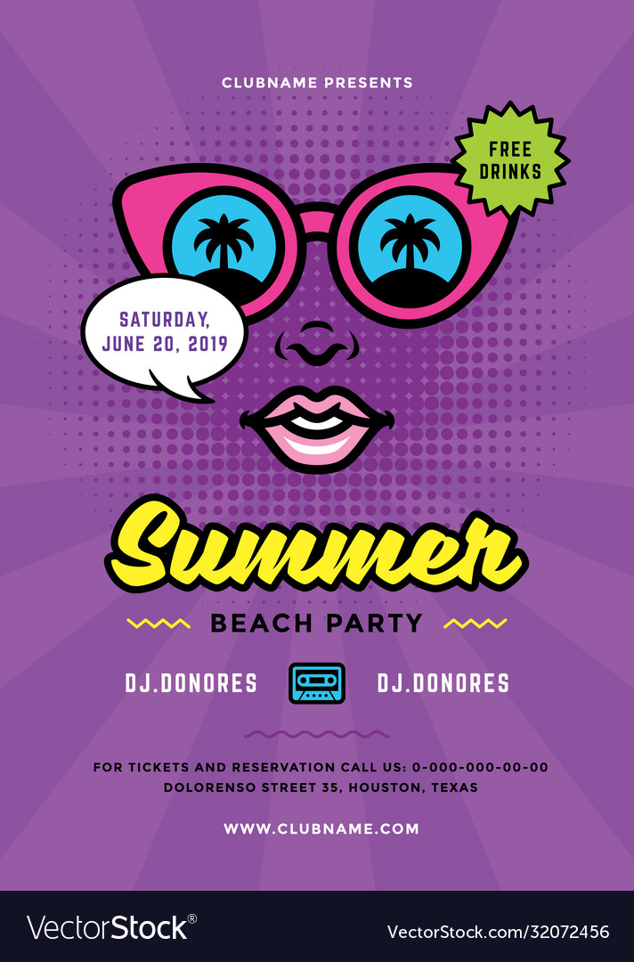 Summer beach party flyer or poster template 90s
