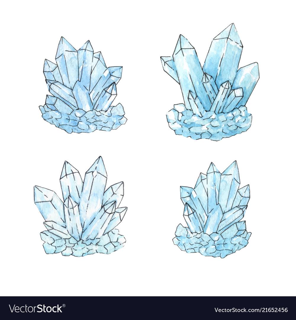 Watercolor set group of quartz crystals in sketch