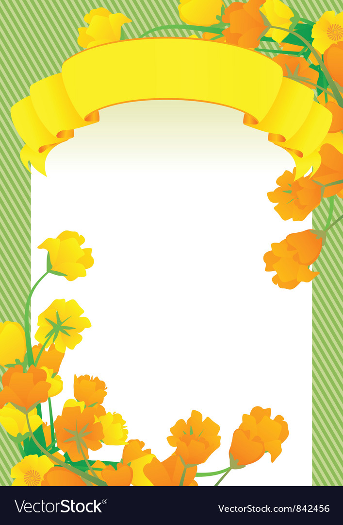 Yellow scroll frame Royalty Free Vector Image - VectorStock