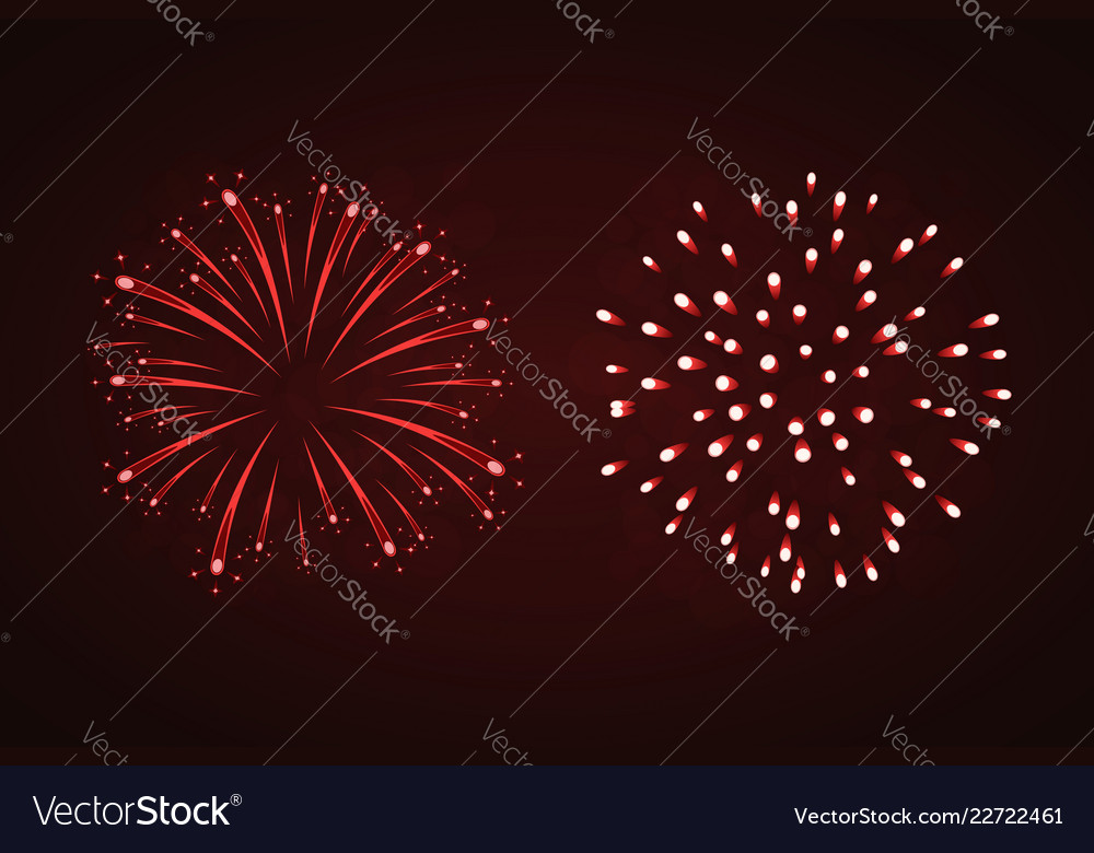 Beautiful red fireworks set bright fireworks