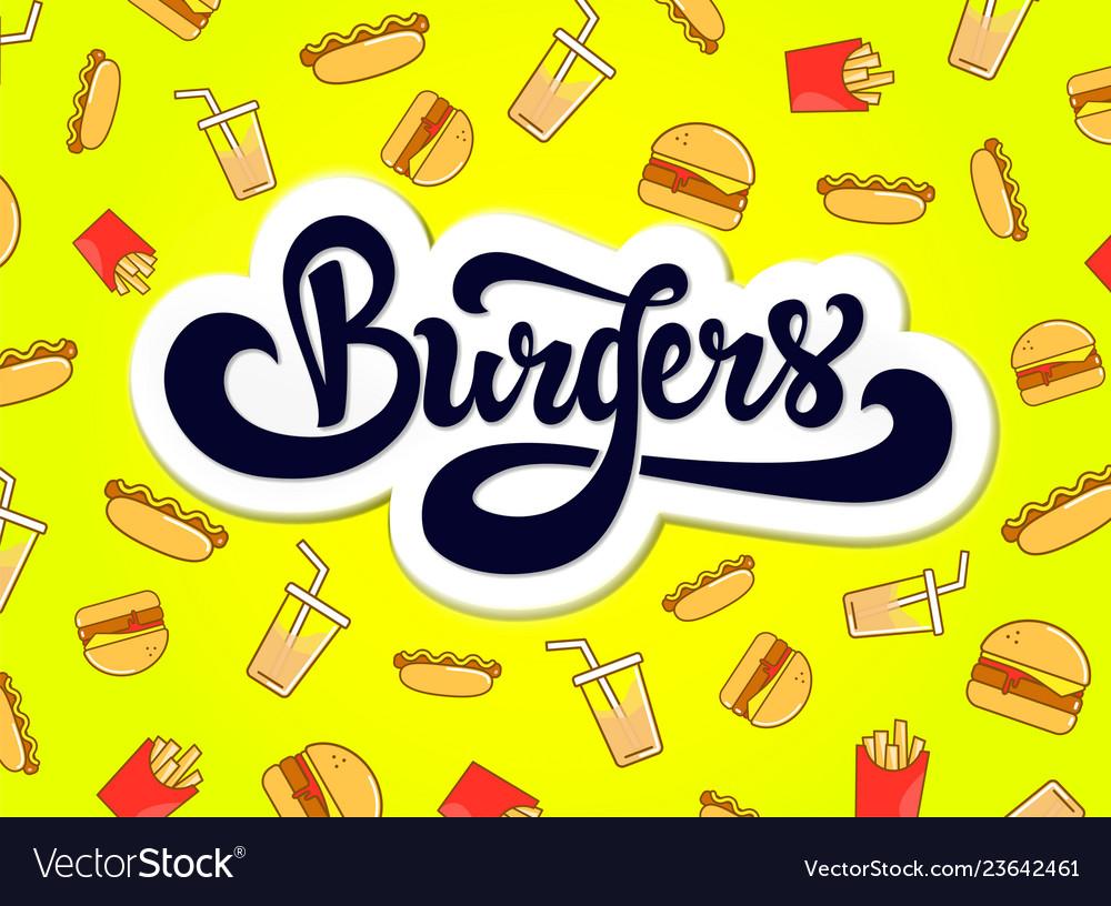 Burgers logo design hand drawn logotype