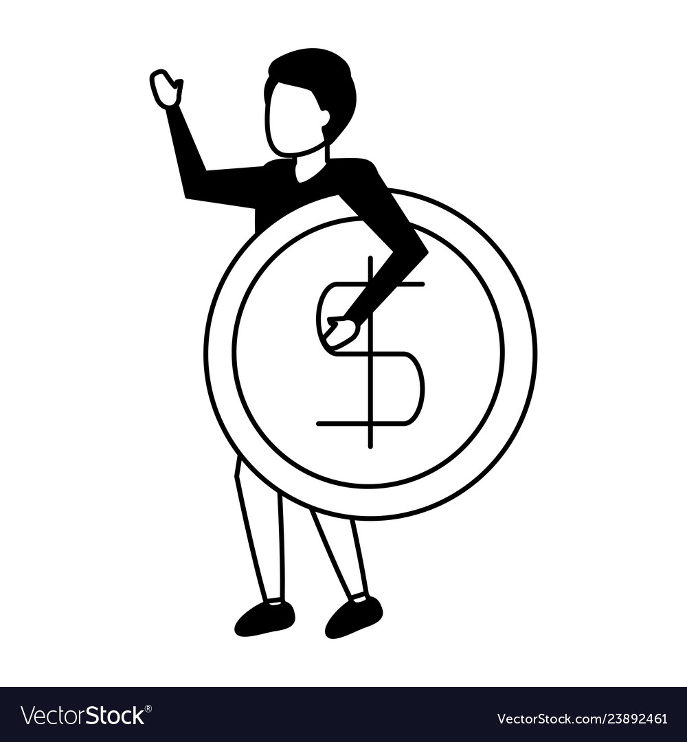 Business man holding dollar coin