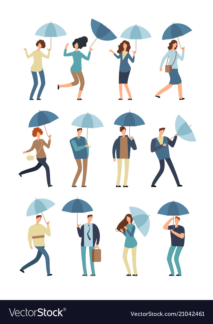 Cartoon people with umbrella in rainy day man and
