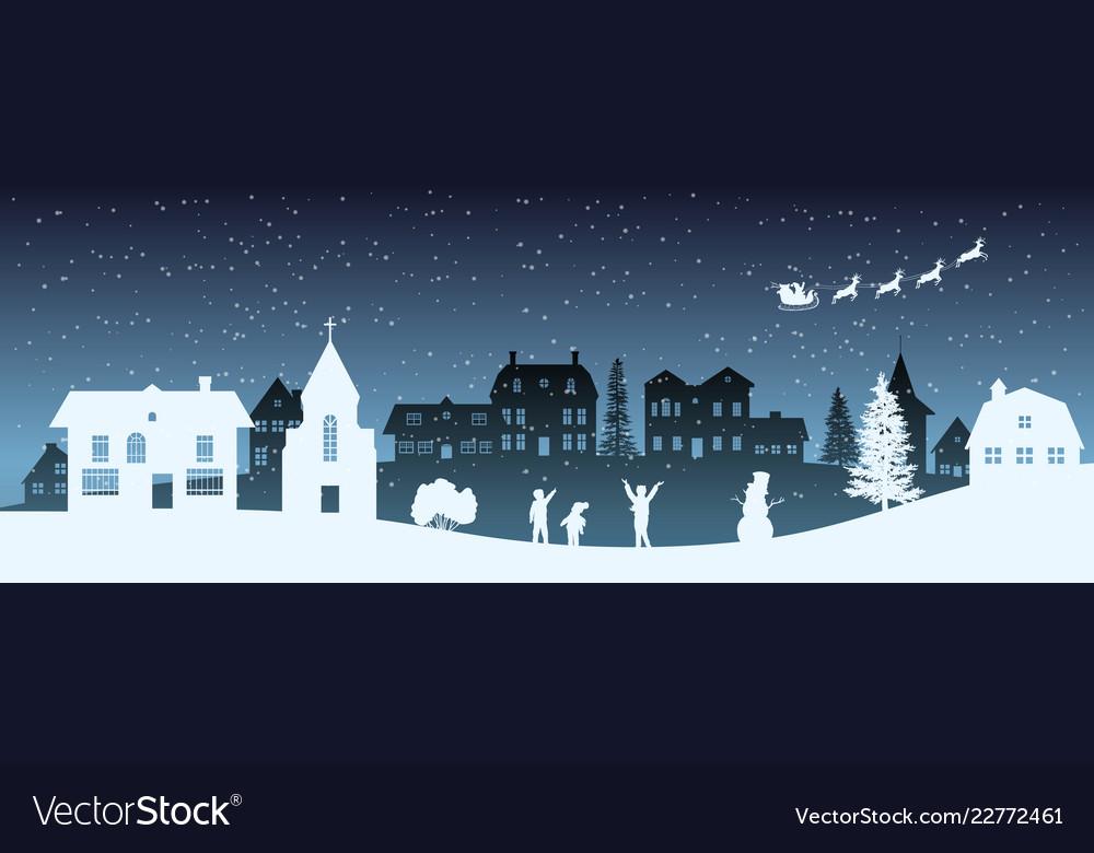 Christmas nigh panorama silhouettes kids
