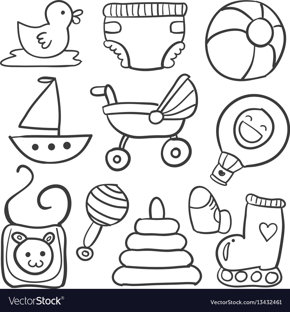 Doodle of object baby style set