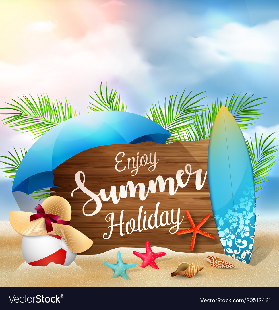 Couple Enjoying Their Summer Holidays Stock Photo: Enjoy Summer Holidays Banner Design With A Wooden Vector Image