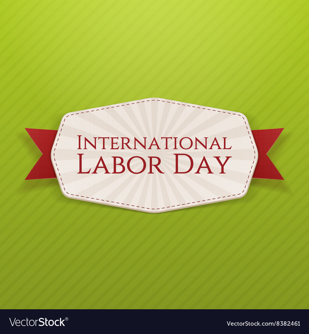 International Labor Day white Banner with Ribbon