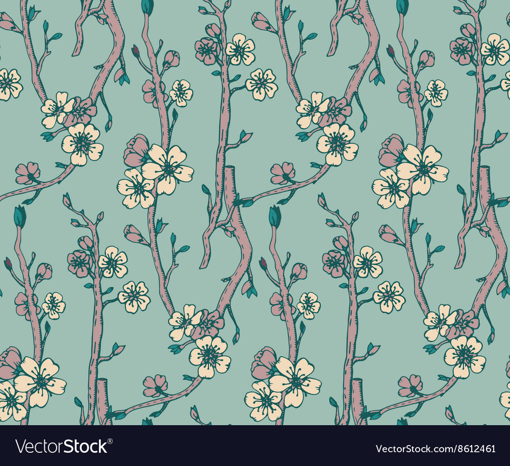 Seamless pattern with hand drawn branches a
