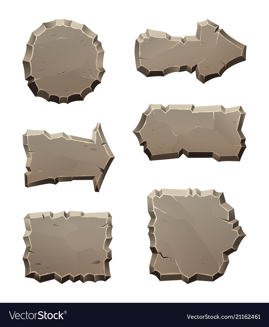 Stone move direction panels and blocks isolate on