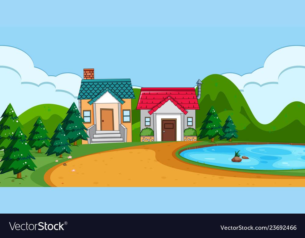 A flat rural house landscape