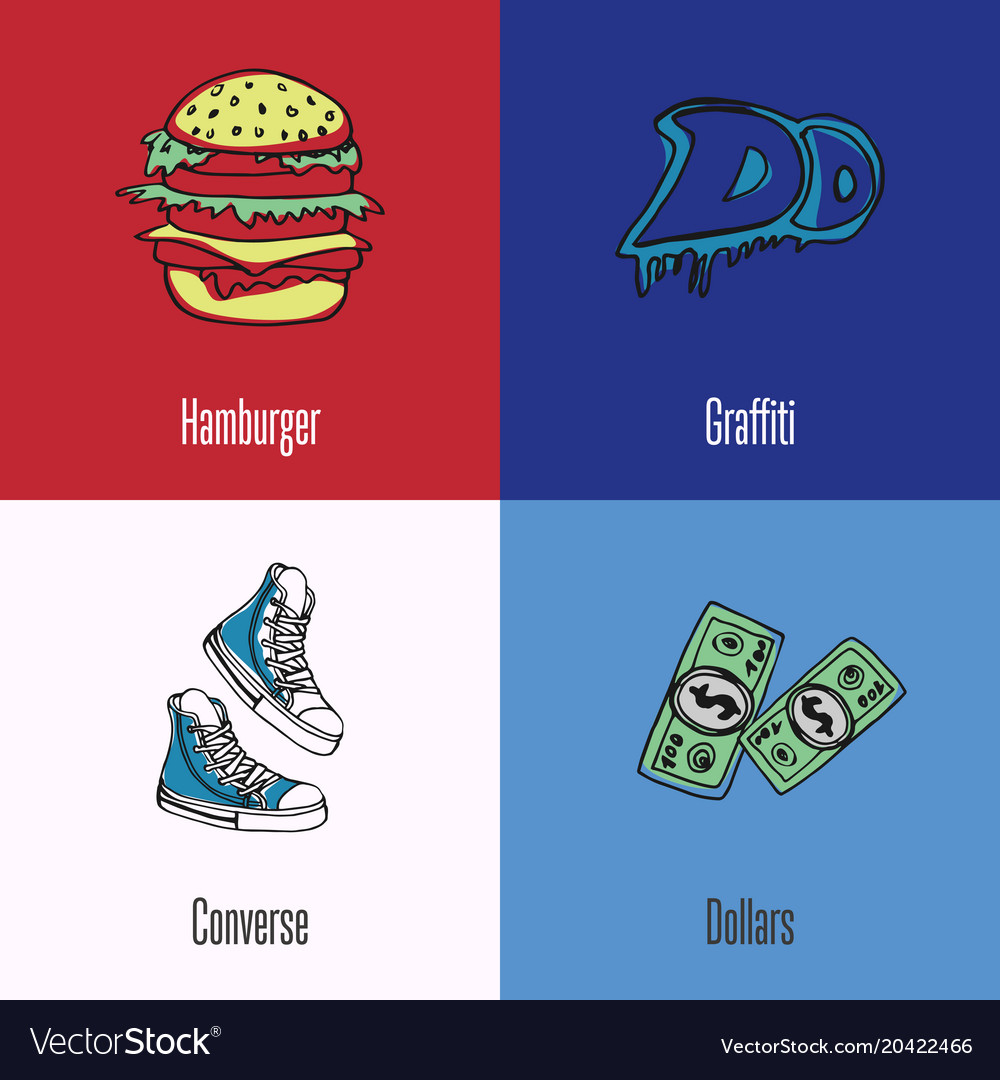 American national symbols icons set