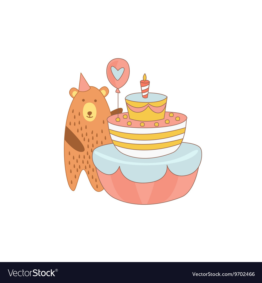 Cool Bear And A Giant Birthday Cake Royalty Free Vector Image Birthday Cards Printable Benkemecafe Filternl
