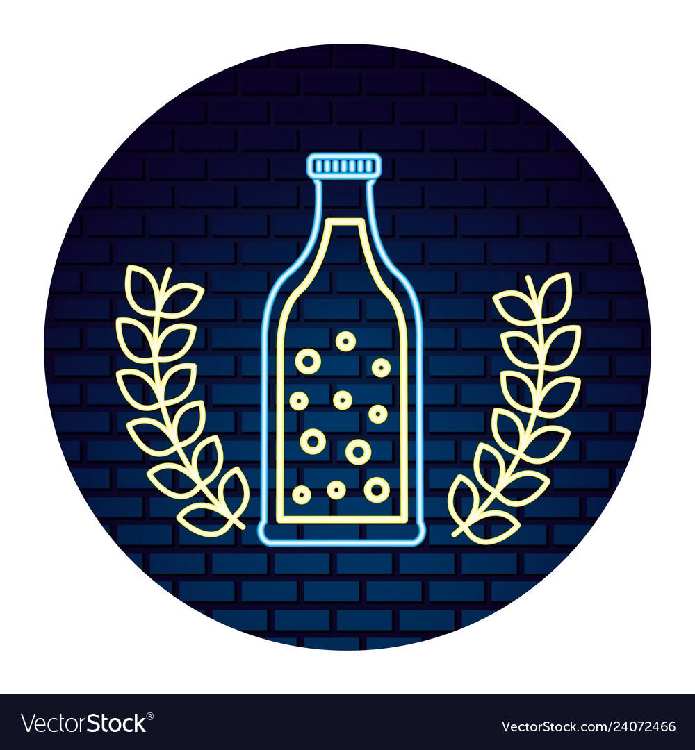 Beer bottle bubles drink neon design emblem
