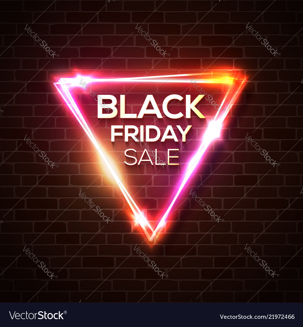 Black friday sale in neon triangle background