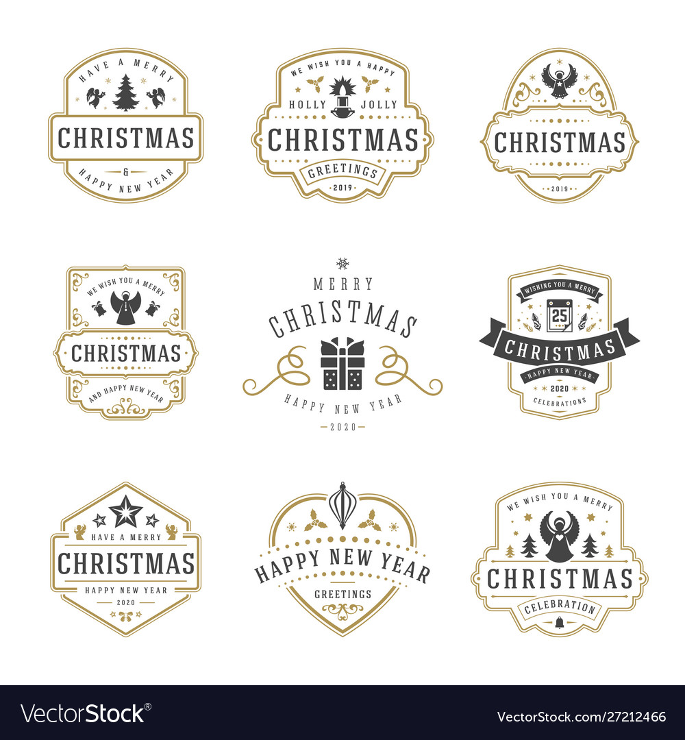Christmas and happy new year wishes labels and