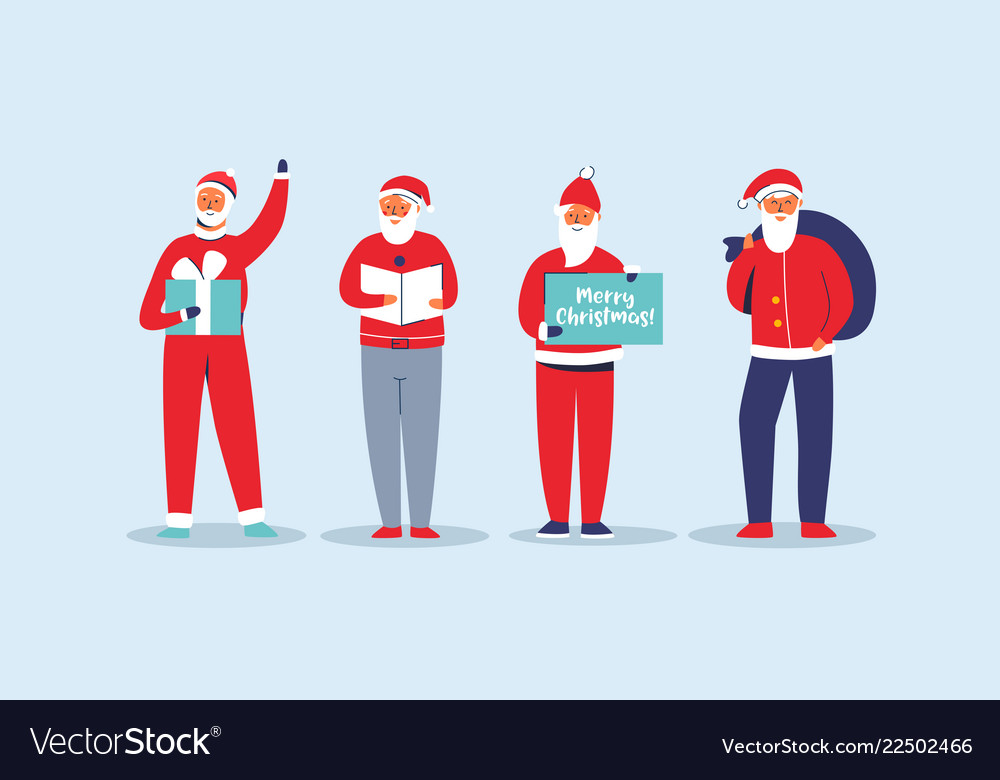 Christmas santa claus set flat winter holidays
