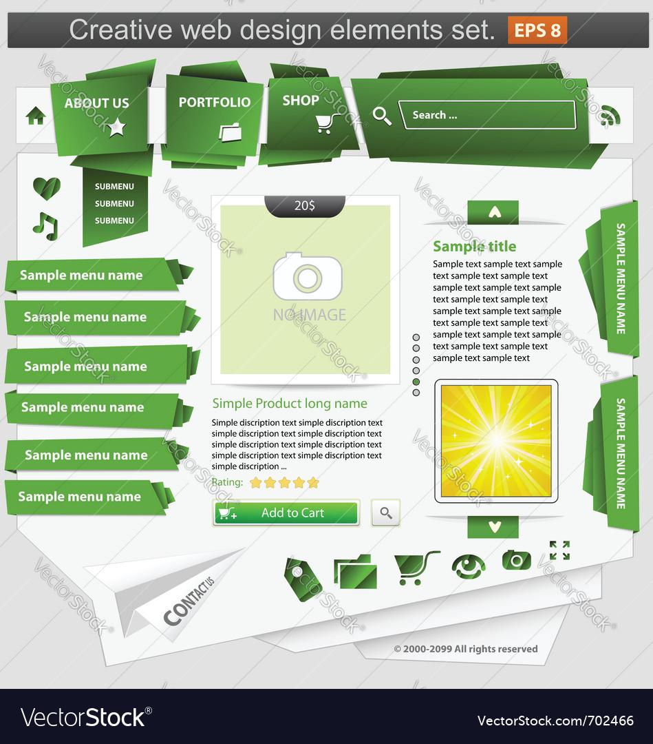Creative web design elements set green