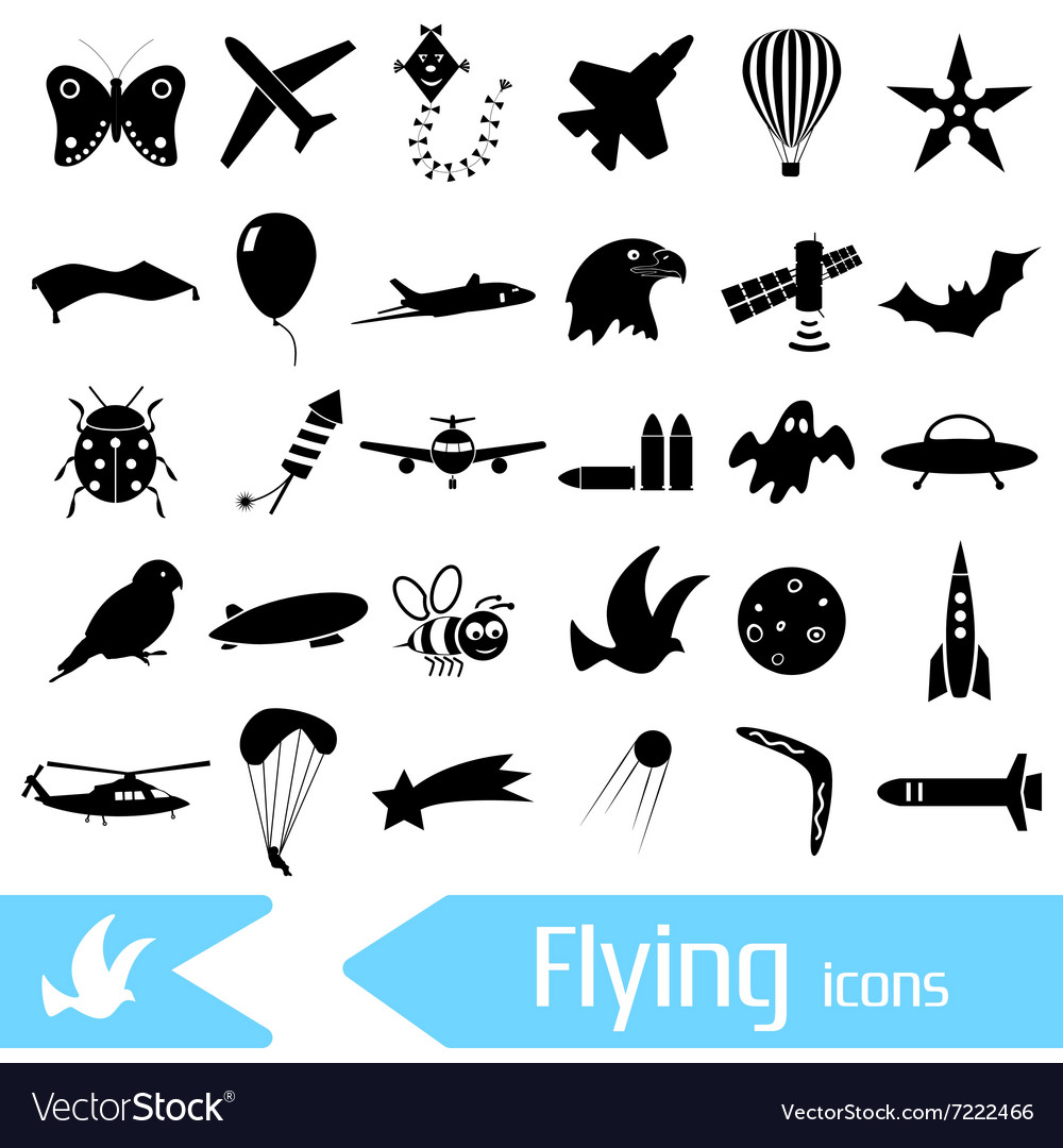 Flying theme theme symbols and icons set eps10 vector image