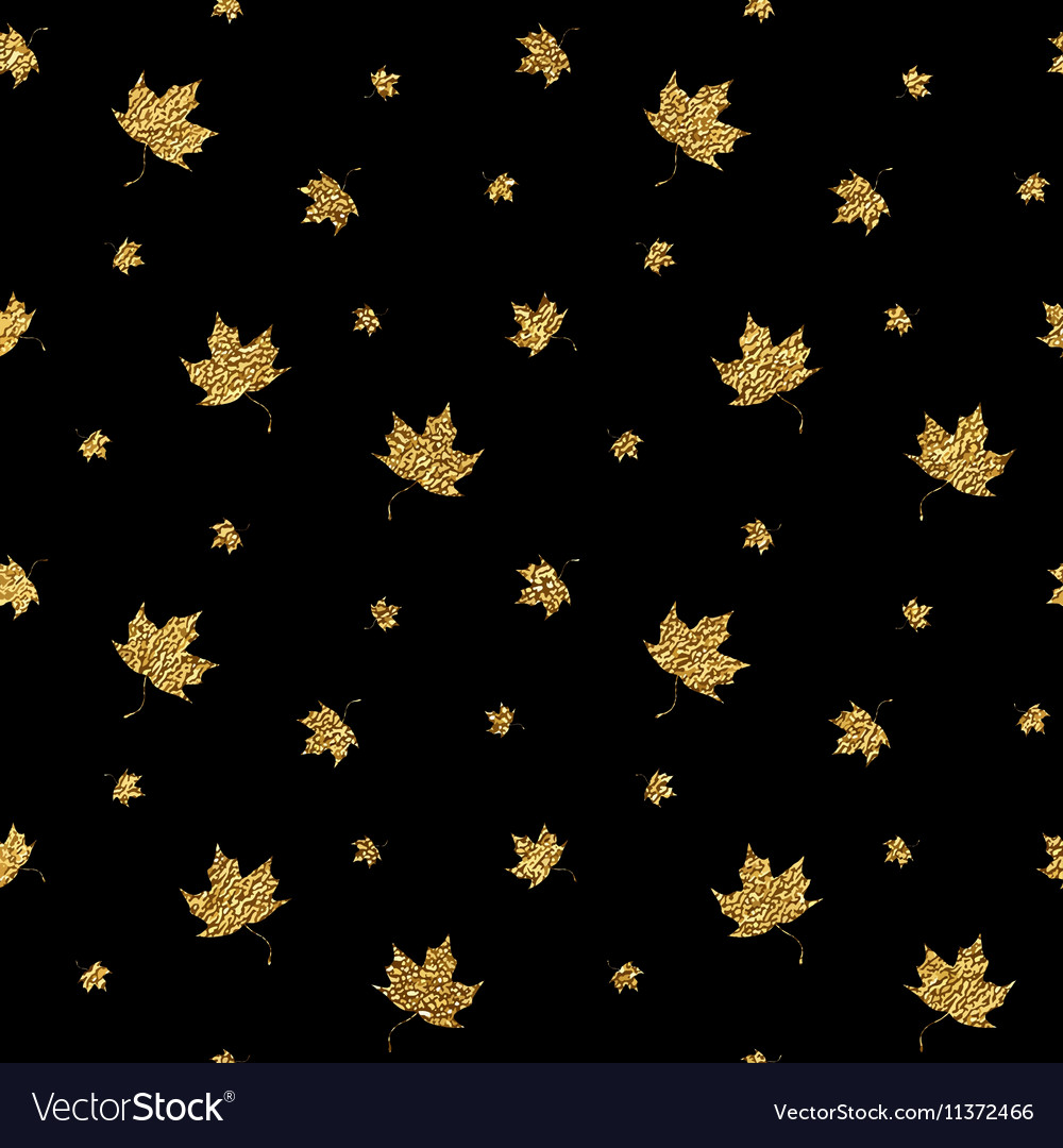 Gold leaf maple seamless pattern