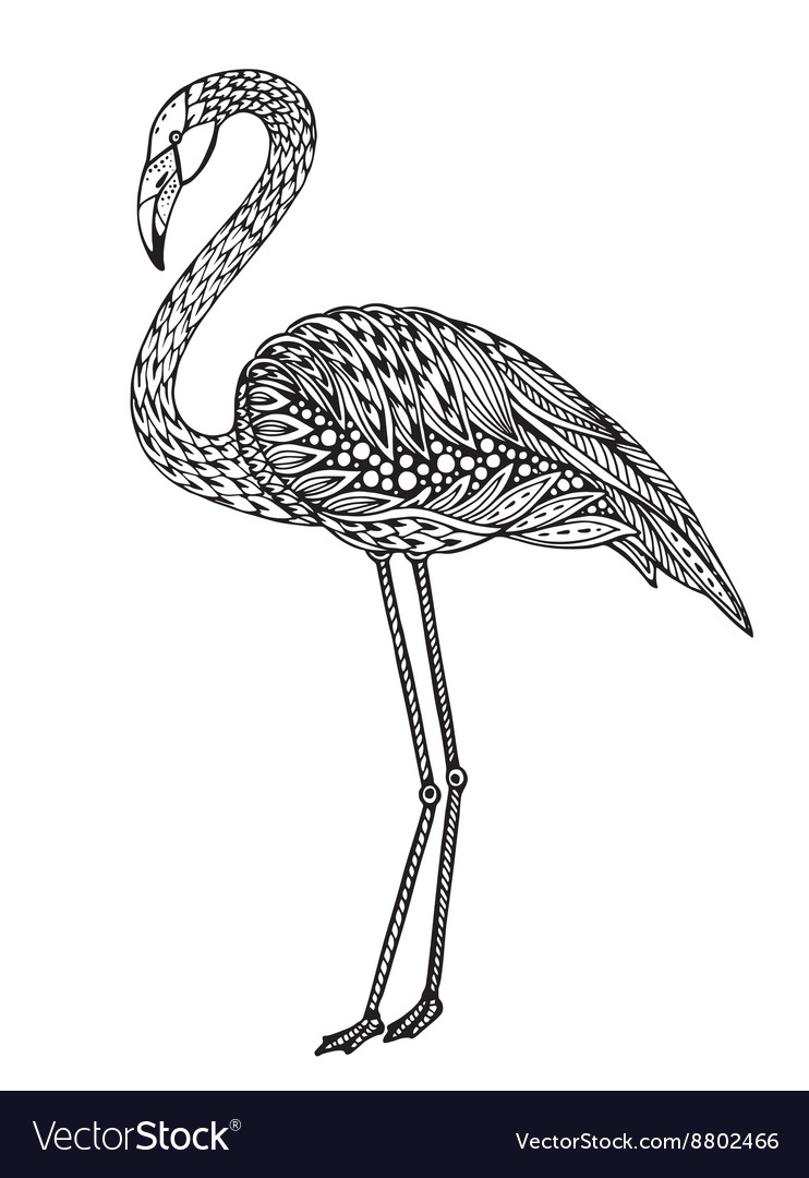 Hand drawn flamingo bird in ornate fancy doodle vector image