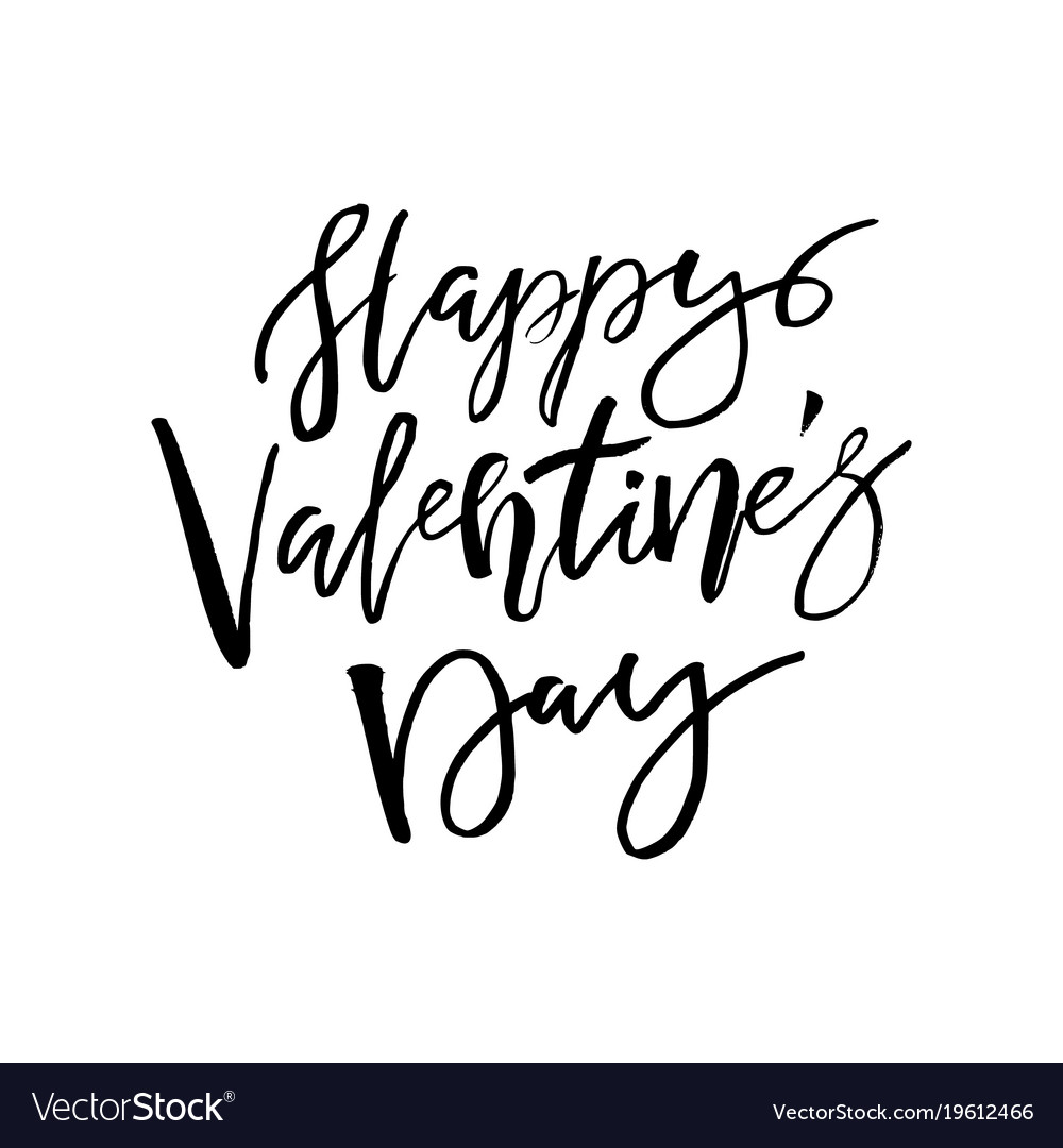 Happy valentines day card with calligraphy text