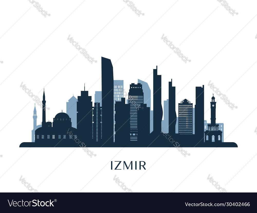 Izmir Skyline Monochrome Silhouette Royalty Free Vector
