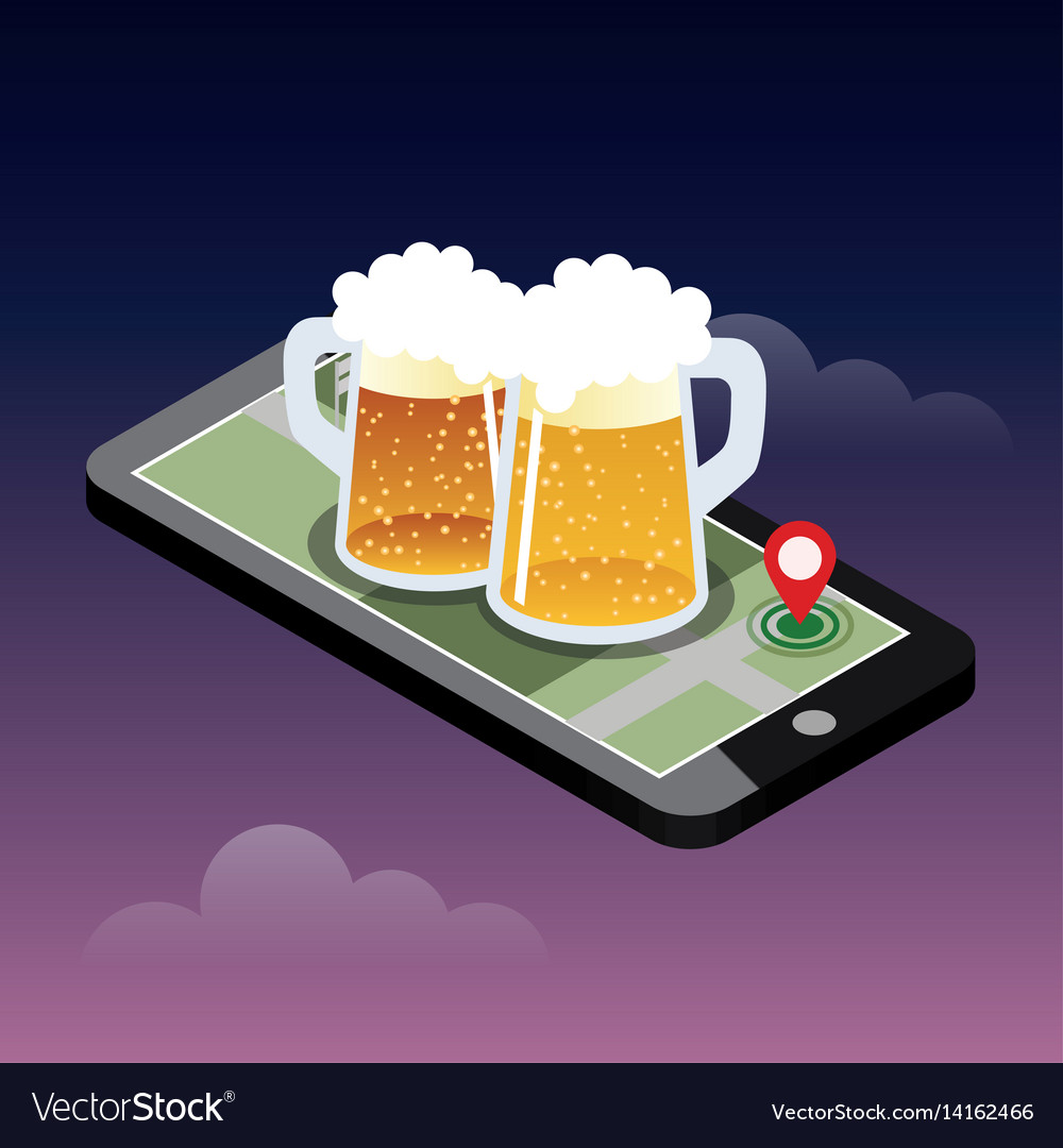 Mobile Searching Looking For Bar Isometric Vector Image