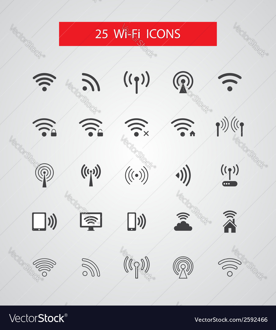 Set of isolated wireless icons