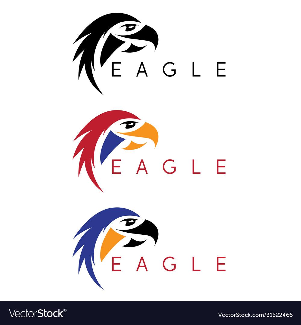 Simple colorful eagles design template set