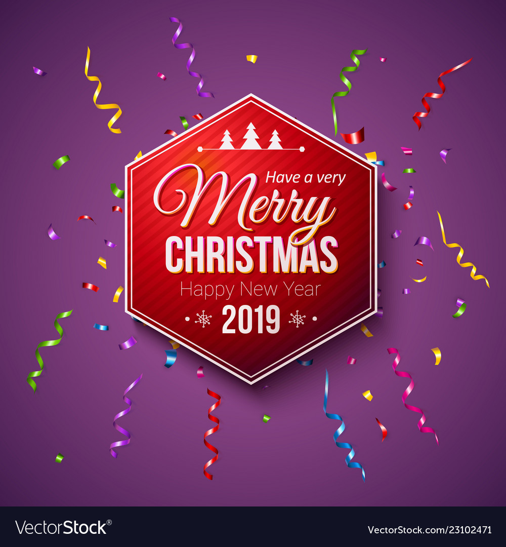 beautiful christmas new year 2019 card template vector image