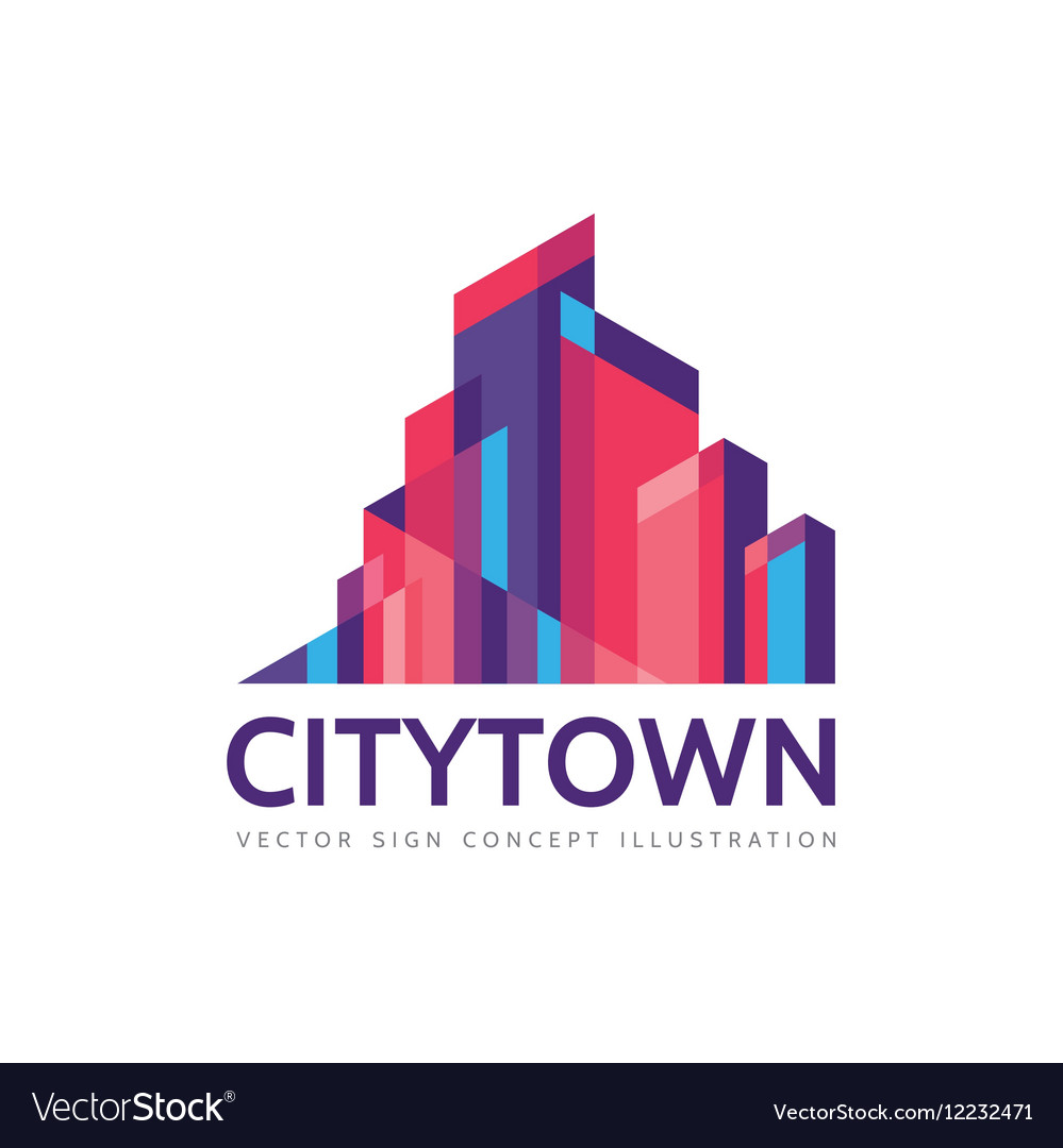 city town real estate logo template royalty free vector
