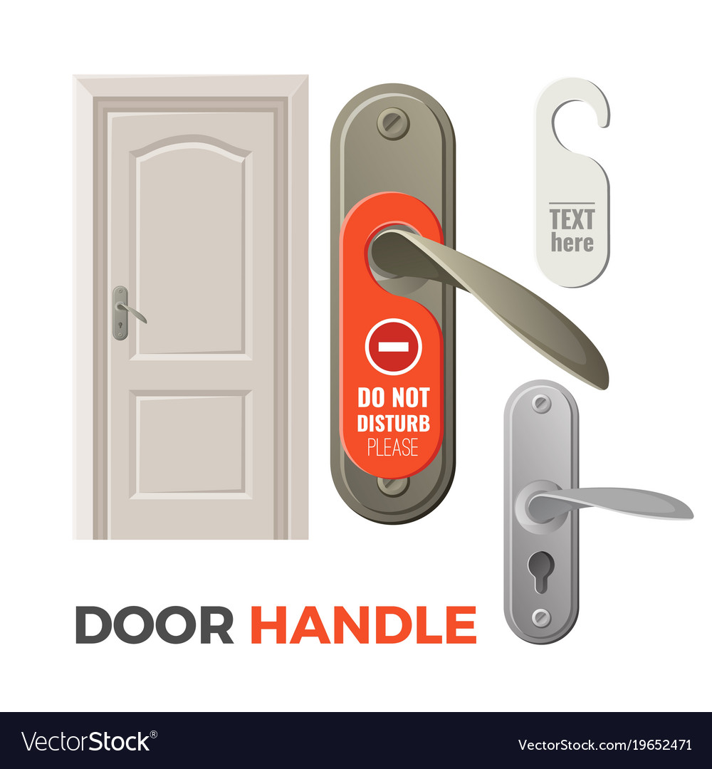 Door handles with do not disturb sign and entrance