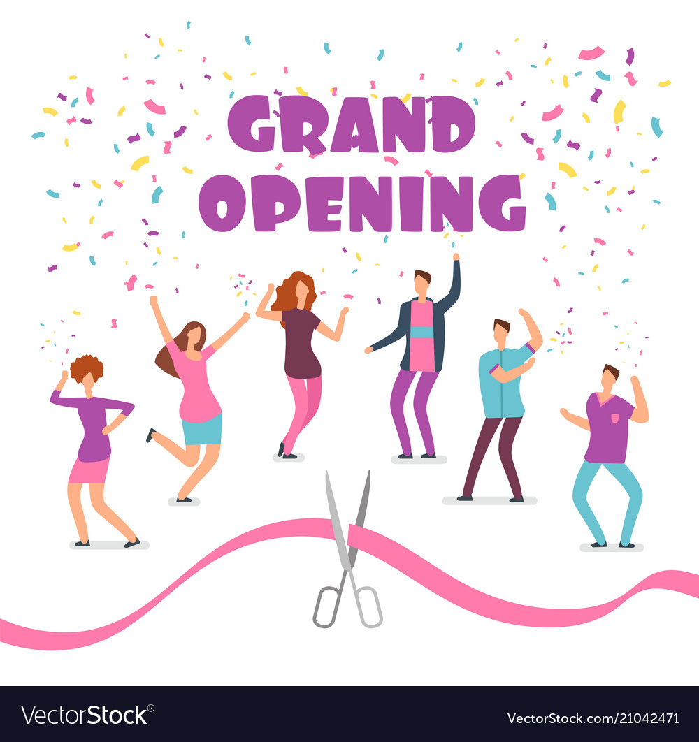 Grand opening concept with happy dancing people at
