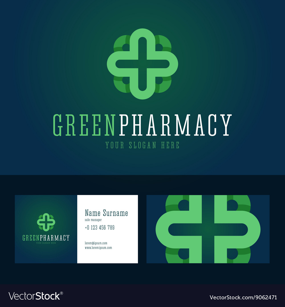 Green pharmacy logo and business card template