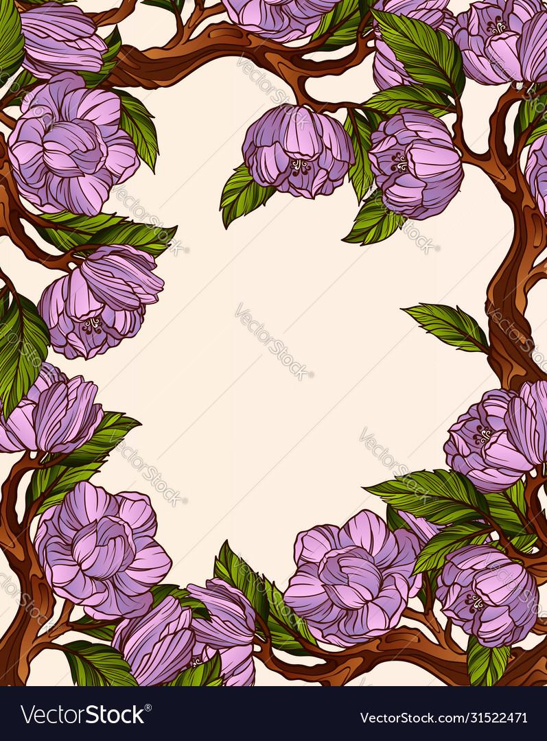 Magnolia flowers frame