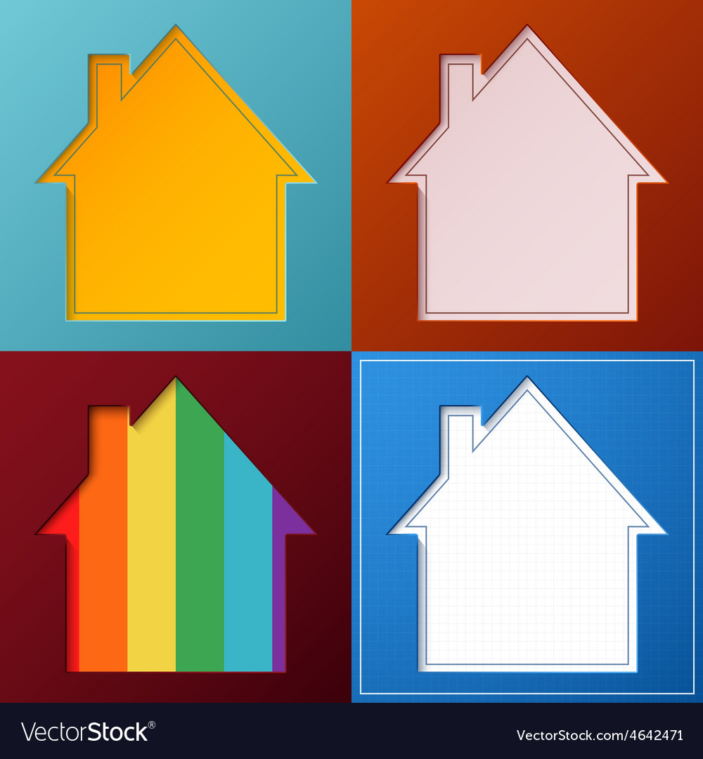 Set of four simple abstract house backgrounds