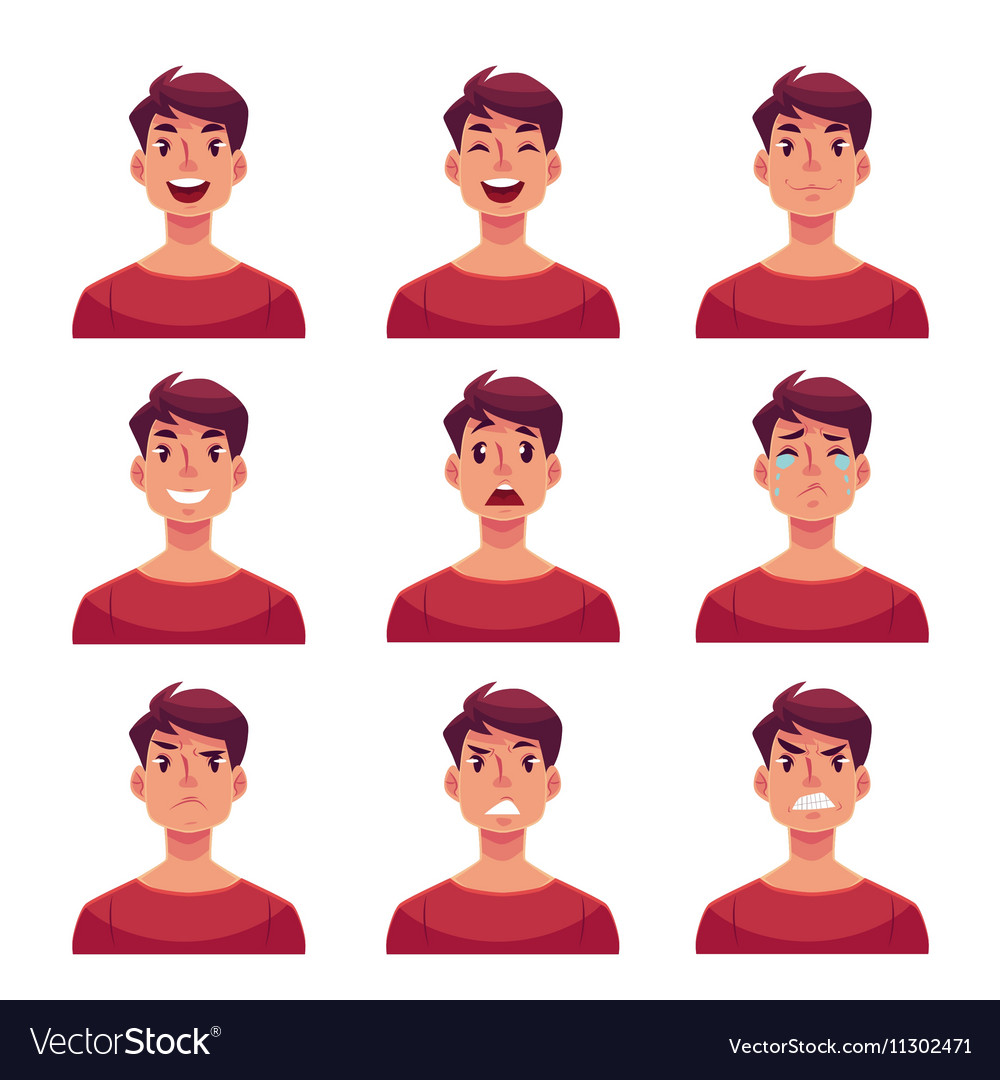 Set of young man face expression avatars vector image