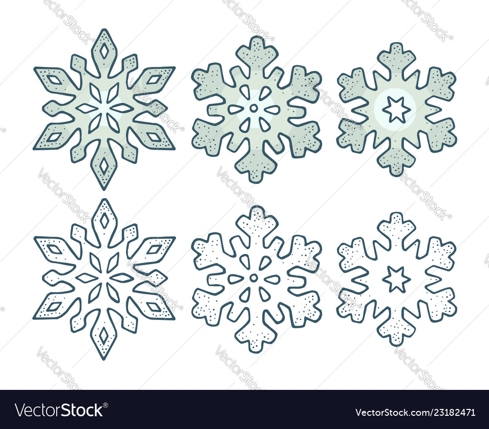 Set snowflakes with three different ornaments