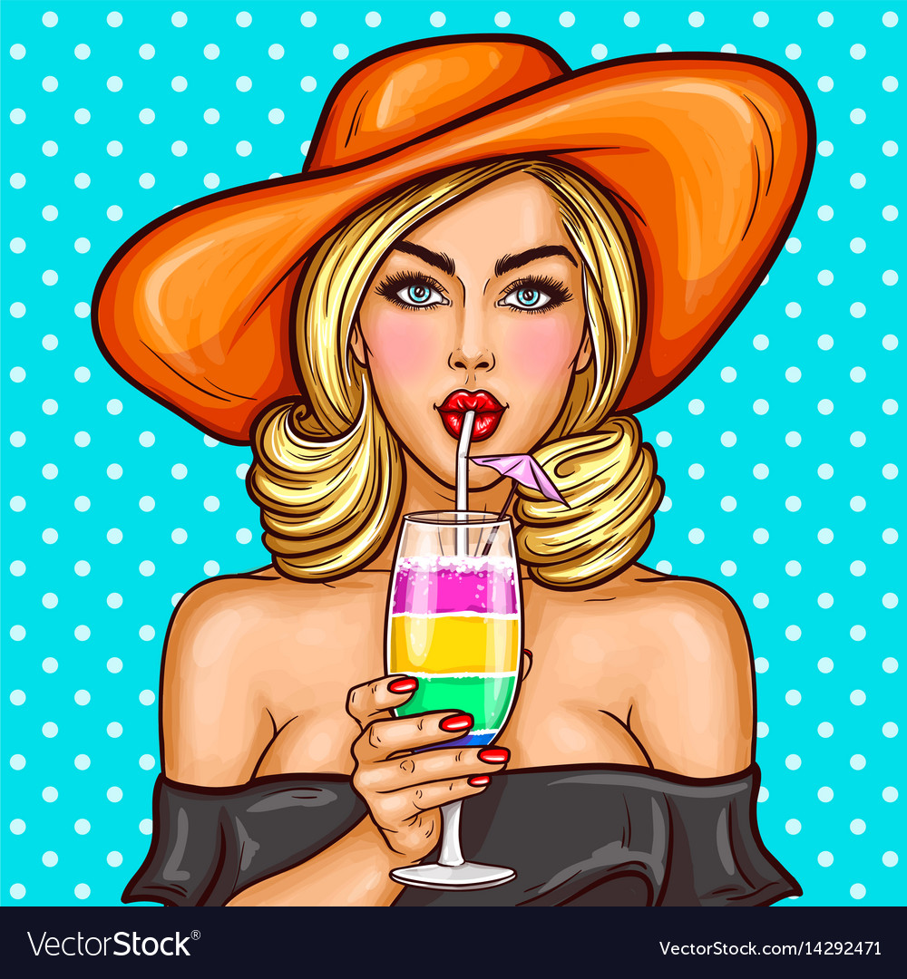 Sexy pop art girl in a wide-brimmed hat drinks her