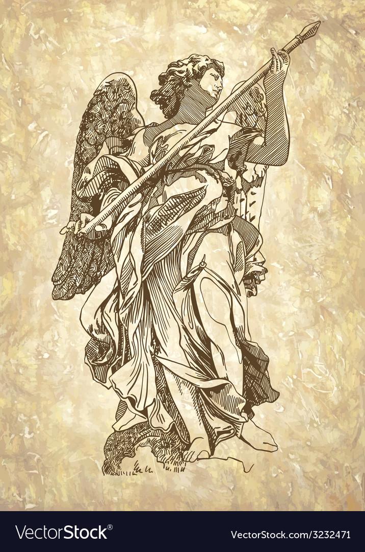 Sketch digital drawing marble statue of angel vector image