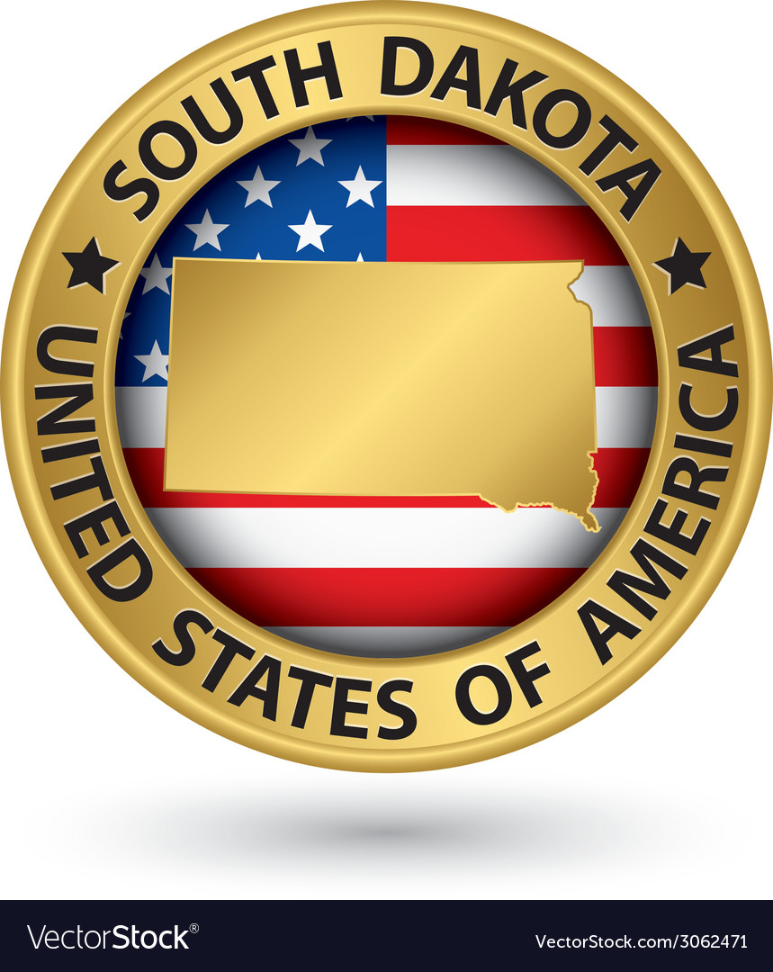 South Dakota state gold label with state map